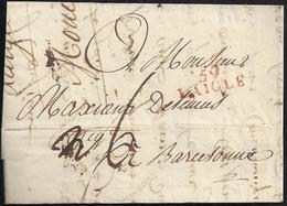 1804. L'AIGLE A BARCELONA. MARCA 59/L'AIGLE EN ROJO. PORTEO MNS. 6 REALES. INTERESANTE CARTA COMPLETA. - 1801-1848: Precursores XIX