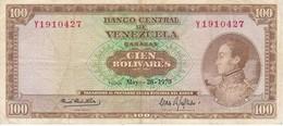 BILLETE DE VENEZUELA DE 100 BOLIVARES DEL AÑO 1970 SERIE Y  (BANKNOTE) - Venezuela