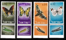 ISRAEL, 1965, Mint Never Hinged Stamp(s), Butterflies, SG 323-326,  Scan 171045, With Tab(s) - Israel