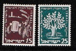 ISRAEL, 1951, Mint Never Hinged Stamp(s), Jewish National Fund, SG 58-59,  Scan 17119, Without Tab(s) - Israel