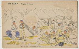 Au Camp Un Peu De Repos Militaires Jouant Aux Cartes . Maius Vas Y Donc à L' Atout . Halte Là - Cartes à Jouer