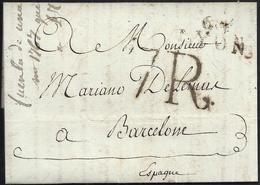 1806. LYON A BARCELONA. MARCA 68/LYON POCO LEGIBLE EN NEGRO. ESPECTACULAR PORTEO 7R. REALES EN NEGRO. INTERESANTE. - 1801-1848: Precursores XIX