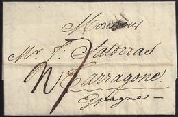 "1807. PARÍS A TARRAGONA. MARCA ""P"" TRIANGULAR EN NEGRO DE PARÍS. PORTEO MNS. 7 REALES. INTERESANTE. - Marcofilia (sobres)"