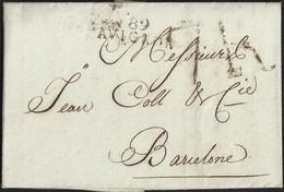 1808. AVIGNON A BARCELONA. MARCA 89/AVIGNON EN NEGRO. ESPECTACULAR PORTEO 7R REALES EN NEGRO. LLEGADA AL DORSO. - 1801-1848: Precursores XIX