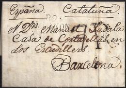 1815. AVIGNON A BARCELONA. MARCA 89/AVIGNON EN NEGRO. ESPECTACULAR PORTEO 7R REALES NEGRO. LLEGADA AL DORSO. INTERESANTE - Marcofilia (sobres)