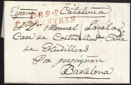 """1815. CARPENTRAS A BARCELONA. MARCA """"P.89.P/CARPENTRAS"""" ROJO. PORTEO 7R REALES EN NEGRO. MNS. """"POR PERPIGNAN"""". - Marcofilia (sobres)"""