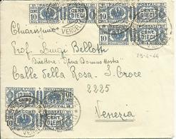 RSC58-Lettera Con 5x 10 Cent. Pacchi Postali 29.4.1944 - Bella E Rara - 4. 1944-45 Repubblica Sociale