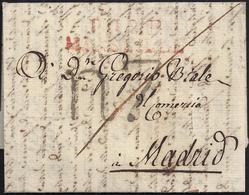"""1815. MARSELLA A MADRID. MARCA """"P.12.P./MARSEILLE"""" EN ROJO. PORTEO R7 REALES EN NEGRO Y TRAZO DE FRANQUEO. - Marcofilia (sobres)"""