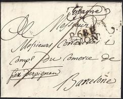 "1815. LYON A BARCELONA. ""P.68.P./LYON"" EN NEGRO. PORTEO 7 REALES EN NEGRO Y TRAZO DE FRANQUEO. MNS. ""PAR PERPIGNAN"". - 1801-1848: Precursores XIX"