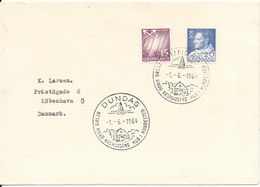 Greenland Cover Sent To Denmark With Special Postmark Dundas 1-6-1964 Visit Knud Rasmussens House In Hundested - Covers & Documents