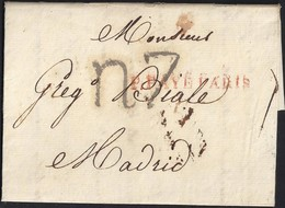 "1816. PARÍS A MADRID. MARCA ""P.PAYÉ/PARIS"" ROJO. PORTEO R7 REALES NEGRO. 13 DÉCIMAS SATISFECHAS. MUY BONITA CARTA FRANCA - 1801-1848: Precursores XIX"