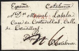"""1816. PARÍS A BARCELONA. MARCA LINEAL """"P.PAYÉ/PARIS"""" ROJO. 4 REALES Y 10 DÉCIMAS SATISFECHAS. FECHADOR DE LLEGADA. - 1801-1848: Precursores XIX"""