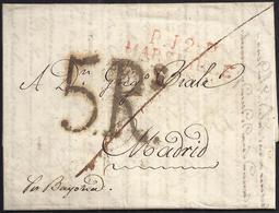 """1816. MARSELLA A MADRID. MARCA """"P.12.P./MARSEILLE"""" ROJO. PORTEO 5Rs REALES NEGRO. TRAZO DE FRANQUEO. MNS. """"POR BAYONA"""". - Marcofilia (sobres)"""