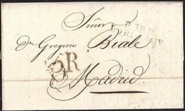 """1816. BURDEOS A MADRID. MARCA """"P.32.P./BORDEAUX"""" NEGRO. PORTEO 5R REALES NEGRO. 5 DÉCIMAS SATISFECHAS. INTERESANTE. - 1801-1848: Precursores XIX"""