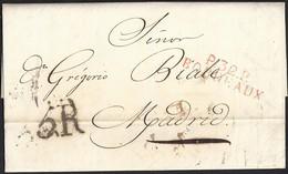 """1817. BURDEOS A MADRID. MARCA """"P.32.P./BORDEAUX"""" ROJO. 5R REALES NEGRO. 5 DÉCIMAS SATISFECHAS. INTERESANTE. - 1801-1848: Precursores XIX"""