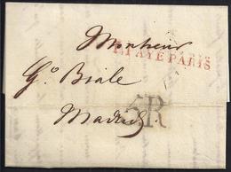 """1817. PARÍS A MADRID. MARCA """"P.PAYÉ/PARIS"""" LINEAL ROJO. 5R REALES NEGRO. 10 DÉCIMAS SATISFECHAS EN ORIGEN. INTERESANTE. - 1801-1848: Precursores XIX"""