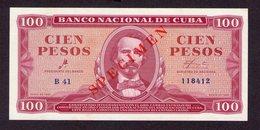 Cuba 100 Pesos 1961 Specimen UNC - Cuba