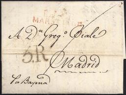 """1817. MARSELLA A MADRID. MARCA """"P.12.P./MARSEILLE"""" ROJO. 5R REALES NEGRO Y TRAZO FRANQUEO. MNS. """"POR BAYONA"""". 9 DÉCIMAS. - 1801-1848: Precursores XIX"""