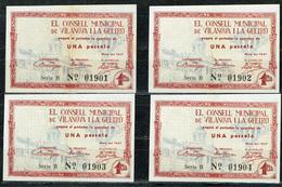 BILLET ESPAGNE ESPAÑA GUERRA CIVIL VILANOVA I LA GELTRU 1937  X 4 Ejemplaires - Espagne