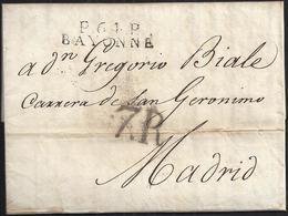 """1817. BAYONA A MADRID. MARCA """"P.64.P./BAYONNE"""" NEGRO. PORTEO 7R REALES NEGRO. 9 DÉCIMAS SATISFECHAS. MUY INTERESANTE. - 1801-1848: Precursores XIX"""