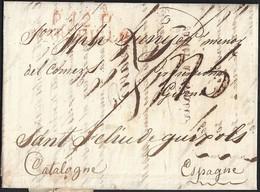 """1818. MARSELLA A SANT FELIU DE GUÍXOLS. """"P.12.P./MARSEILLE"""" ROJO. 5 REALES Y TRAZO FRANQUEO. 6 DÉCIMAS SATISFECHAS. - Marcofilia (sobres)"""