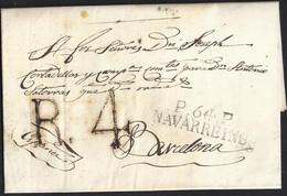 """1818. NAVARREINS A BARCELONA. MARCA """"P.64.P./NAVARREINS"""" NEGRO. R.4 REALES NEGRO. 9 DÉCIMAS SATISFECHAS Y LLEGADA. - 1801-1848: Precursores XIX"""