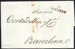 """1821. HAVRE DE GRACIA A BARCELONA. MARCA """"64/BAYONNE"""". PORTEO R4 REALES ROJO Y FECHADOR DE LLEGADA AL DORSO. PRECIOSA. - 1801-1848: Precursores XIX"""