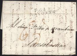 """1821. BAYONA A SAN SEBASTIÁN. MARCA """"P.64.P./BAYONNE"""" NEGRO. PORTEO MNS. 6 REALES Y 9 DÉCIMAS SATISFECHAS EN ORIGEN. - 1801-1848: Precursores XIX"""