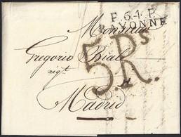 """1822. NIMES A MADRID. MARCA """"P.64.P./BAYONNE"""" NEGRO. 5Rs REALES NEGRO. 9 DÉCIMAS SATISFECHAS EN ORIGEN. MUY INTERESANTE. - 1801-1848: Precursores XIX"""