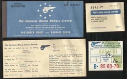 Pan American World Airways System Airline Passenger Transport Ticket With Holding Card Coach Service & Baggage Claim Tag - Transportation Tickets