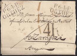 """1823. MARSELLA A TARRAGONA. MARCA """"P.12.P./MARSEILLE"""" ROJO. 4 REALES. 6 DÉCIMAS SATISFECHAS Y ANOTACIONES DE PORTE. - 1801-1848: Precursores XIX"""