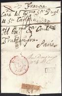1825. MADRID A PARÍS. MARCA FRANQUEO PAGADO Y TRÁNSITO POR BAYONA. 13 DE'CIMAS. AL DORSO LLEGADAS Y REEXPEDICIONES. - 1801-1848: Precursores XIX