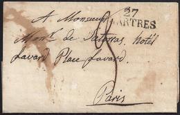 """1826. CHARTRES A PARÍS. MARCA """"27/CHARTRES"""" EN NEGRO. PORTEO 3 DÉCIMAS. INTERESANTE CARTA. - Marcofilia (sobres)"""