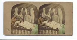 PHOTO STEREO Circa 1860..Alfred SILVESTER ( Cachet à Sec)..Guardian Angels... 3 Scans - Photos Stéréoscopiques