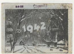II. WK 1942 Russland Neujahr Soldat Im Schnee Winter Feldpost Chemnitz Karl Schiller - Guerra 1939-45