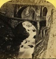 Suisse Pont Du Diable Route De St Gotthard Ancienne Photo Stereo Gabler 1885 - Stereoscopic