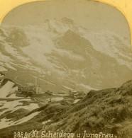 Suisse Jungfrau Scheidegg Ancienne Photo Stereo Gabler 1885 - Stereoscopic