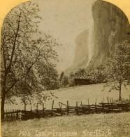 Suisse Les Chutes De Lauterbrunnen Staubbach Ancienne Photo Stereo Gabler 1885 - Stereoscopic