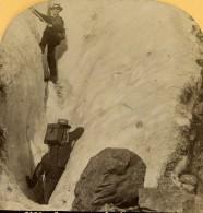 Suisse Alpinistes Dans Une Crevasse De Glace Ancienne Photo Stereo Gabler 1885 - Stereoscopic