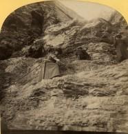 Suisse Femme Sur Le Chemin De La Jungfrau Ancienne Photo Stereo Gabler 1885 - Stereoscopic