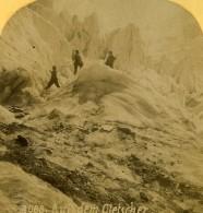 Suisse Alpinistes Sur Le Glacier Ancienne Photo Stereo Gabler 1885 - Stereoscopic