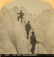 Suisse Alpinistes Sur Le Glacier Du Rhone Ancienne Photo Stereo Gabler 1885 - Stereoscopic