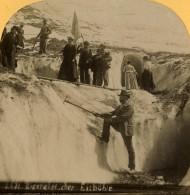 Suisse Alpinistes Grotte De Glace Sur L'Eiger Ancienne Photo Stereo Gabler 1885 - Stereoscopic
