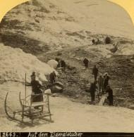 Suisse Alpinistes Traineau Sur Le Glacier Eiger Ancienne Photo Stereo Gabler 1885 - Stereoscopic