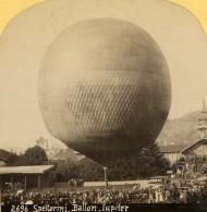 Suisse Eduard Spelterini Le Ballon Jupiter Ancienne Photo Stereo Gabler 1885 - Stereoscopic