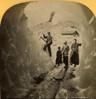 Suisse Grindelwald Grotte De Glace Glacier Inferieur Ancienne Photo Stereo Gabler 1885 - Stereoscopic
