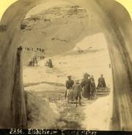 Suisse Grotte De Glace Sur L'Eiger Glacier Ancienne Photo Stereo Gabler 1885 - Stereoscopic