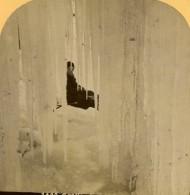 Suisse Grotte De Glace Naturelle Glacier Ancienne Photo Stereo Gabler 1885 - Stereoscopic