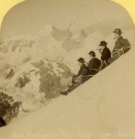 Suisse Alpinistes Au Sommet Du Wetterhorn Ancienne Photo Stereo Gabler 1885 - Stereoscopic