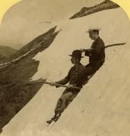 Suisse Alpinistes Sur La Neige Ancienne Photo Stereo Gabler 1885 - Stereoscopic